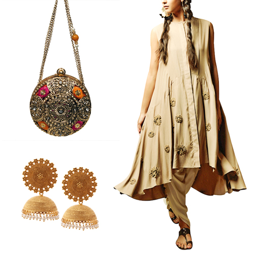 Mehendi outfit option for female guests including Stylish Beige and White Suit by Kanelle, Gorgeous Circular Clutch by Meera Mahadevia and Gold Pearl Drops Jhumkas by Shillpa Purii.