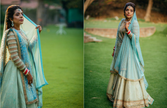 Non Conventional Bridal Outfit Colours | Aqua Blue 2
