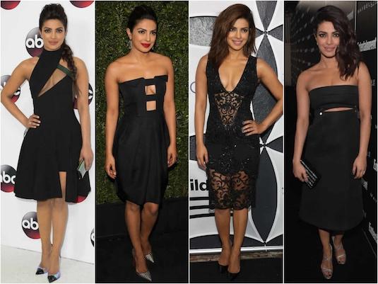 robe de soirée courte noire PRIYANKA CHOPRA
