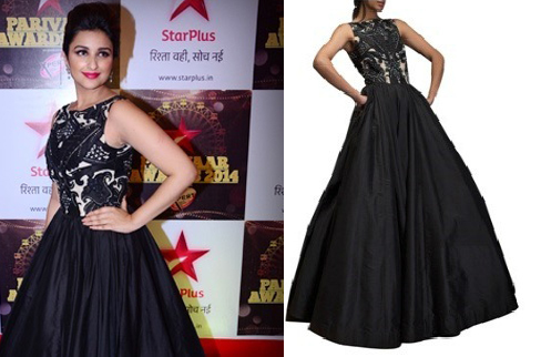Parineeti Chopra in Black Siddartha Tytler Gown | Indian Gowns Ruling the Red Carpet