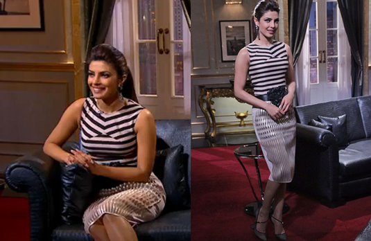 Priyanka Wearing Striped Outfit   The Best & the Worst Dressed on Koffee with Karan