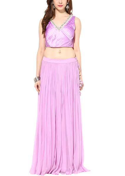 Pearl Orchid Crop Top Set | Modern Indian Wedding Dresses for the Haldi Ceremony