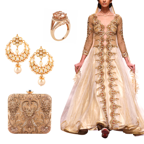 Reception outfit option for female guests including Regal Golden Gown by Mandira Wirk, Alluring Oval Cut Ring by Strand of Silk, Crescent Shaped Chandelier Earrings by Yosshita Neha and Maharani Gold Clutch by The Purple Sack.