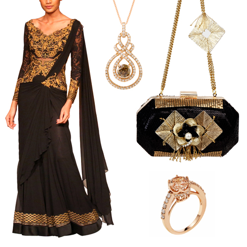 Reception outfit option for female guests including Gorgeous Black Drape Saree by Mandira Wirk, Brown Diamond Pendant Necklace by Strand of Silk, Dazzling Black Sequinned Clutch by Meera Mahadevia and Enchanting Pink Gold Ring by Strand of Silk.