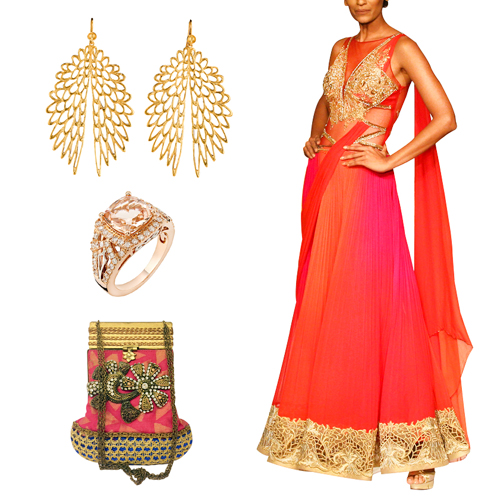 Sangeet outfit option for female guests including Fuchsia and Orange Drape Saree by Mandira Wirk, Stylish Eagle Wings Earrings by Esa, Regal Pink Gold Ring by Strand of Silk and Fuchsia Pink Clutch by Meera Mahadevia.