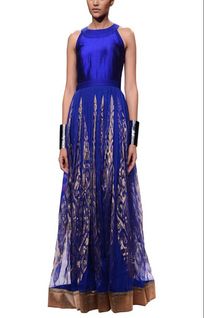 Blue Net Brocade Flair Gown | Modern Indian Wedding Dresses for the Haldi Ceremony