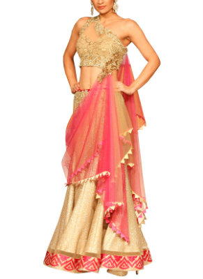 Golden Embroidered Lehenga | Perfect Lehengas for your Engagement Ceremony