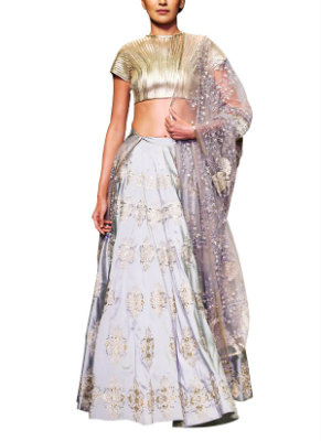 Understated Gold and Grey Siddartha Tytler Lehenga | Perfect Lehengas for your Engagement Ceremony