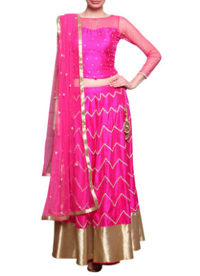 Hot Pink Spoilt Chic Raw Silk Lehenga | Perfect Lehengas for your Engagement Ceremony