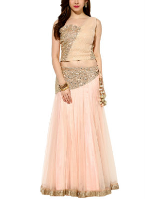 House of Trove's Misty Rose Lehenga with Pleats | Perfect Lehengas for your Engagement Ceremony