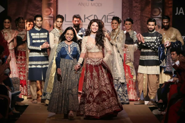 Jacqueline Fernandes in Anju Modi | The Five Most Extravagant Fashion Week Outfits of all Times