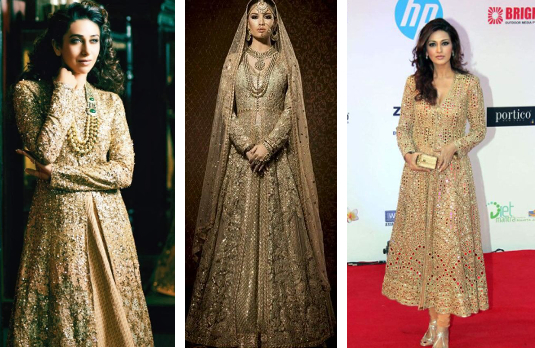Golden Anarkalis | Golden Indian Wedding Outfits
