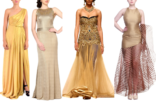 Golden Gowns | Golden Indian Wedding Outfits