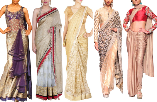 Golden Sarees | Golden Indian Wedding Outfits