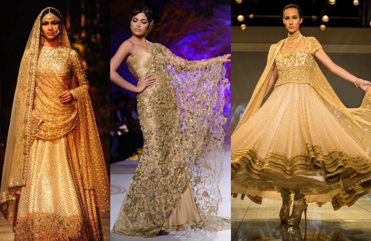 Golden Indian Wedding Outfits by Indian Designers | Golden Indian Wedding Outfits
