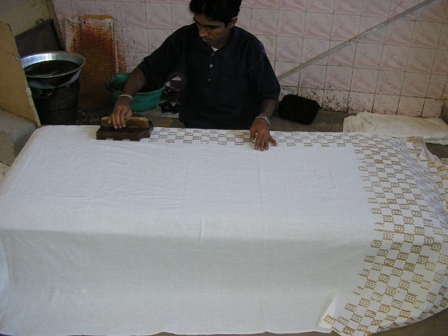 Printing wax with wood block