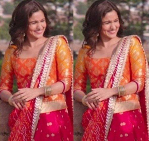 Alia bhatt in orange and magenta lehenga choli from Badrinath ki Dulhania