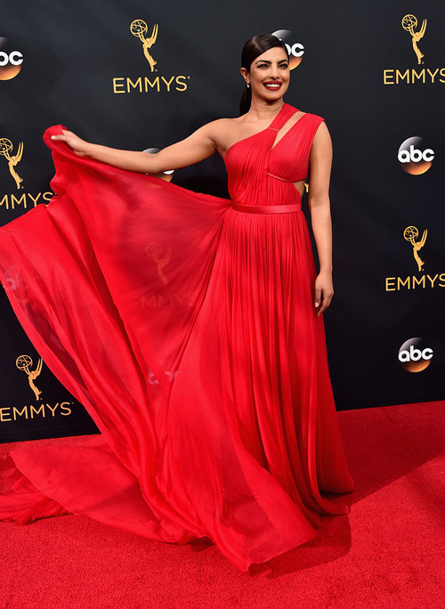Red Jason Wu gown at the 2016 Emmy Awards