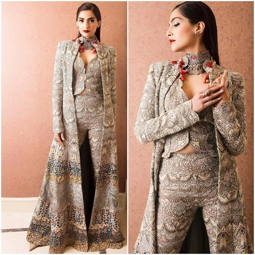 Sonam Kapoor wearing Anamika Khanna's design at the Indian festival of Melbourne
