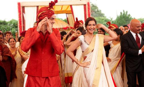 Sonam Kapoor in white Kasavu Saree from Aisha