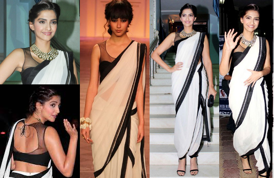 Sonam Kapoor Black and White Dhoti Saree I 5 Bollywood Fashion Pieces We Would Love To Have In Our Wardrobe