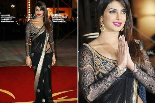 a662c5fce6 Black Saree Worn by Priyanka Chopra | What Not to Wear to an Indian Wedding