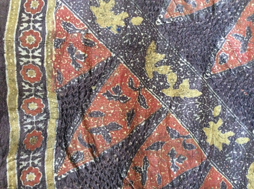 Detail of a bandhani and block print silk stole by Irfan Anwar Khatri