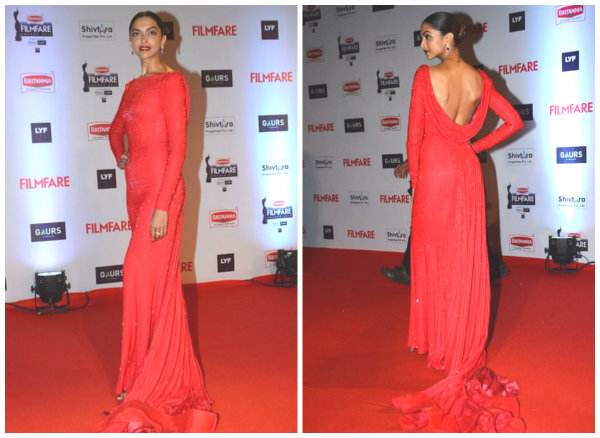 Deepika in a Ralph and Russo dress | Best Dressed Celebrities at the Filmfare Awards 2016
