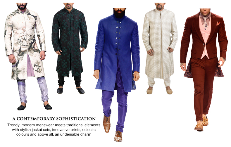 Contemporary Indian wedding wear for men including Matika Silk Printed Sherwani Set by Siddartha Tytler, Black Hand Embroidered Kurta, Applique Work Sherwani by Poonam Kasera. Electric Blue Jute Sherwani and Maroon Tailcoat Jacket Set by Narendra Kumar.
