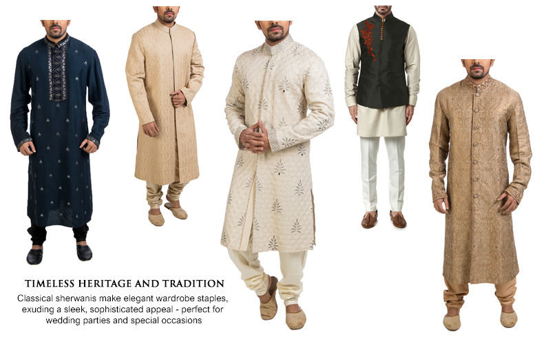 Traditional Indian wedding wear for men including Black Resham Work Kurta, Aari Worked Sherwani, Bead-Embellished Sherwani and Swarovski Embellished Brocade Kurta by Poonam Kasera. Forest Green Nehruvian by WCYI.