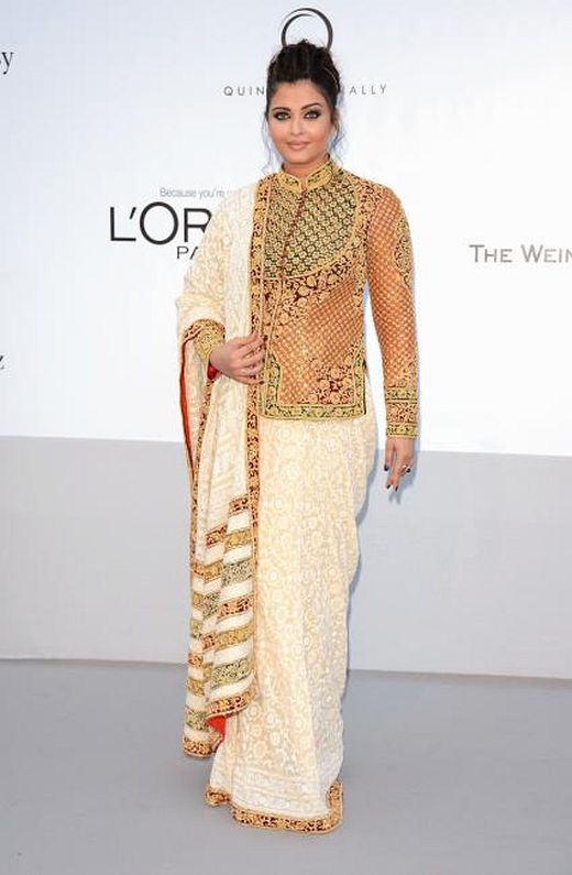 Aishwarya Rai at Cannes 2012 in a Chikan Saree