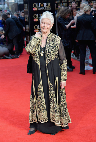 Dame Judie Dench at the Olivier Awards in London in a Chikan Embroidered Jacket