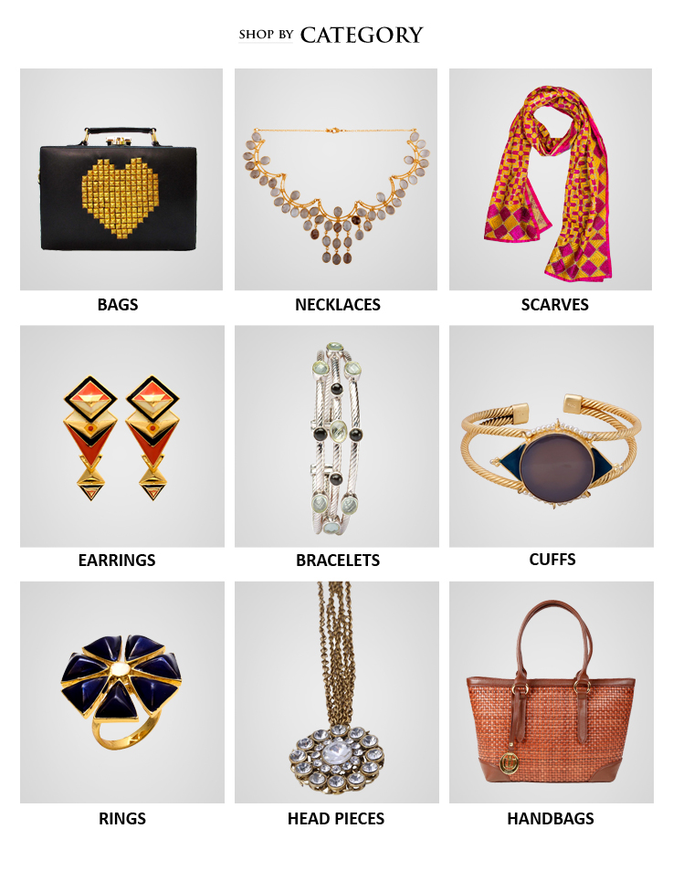 Shop the latest collection of beautiful Indian designer handbags, clutch bags, evening bags, Indian jewellery like necklaces, rings, head bands, arm bands and also accessories like silk scarves from Indian Designers