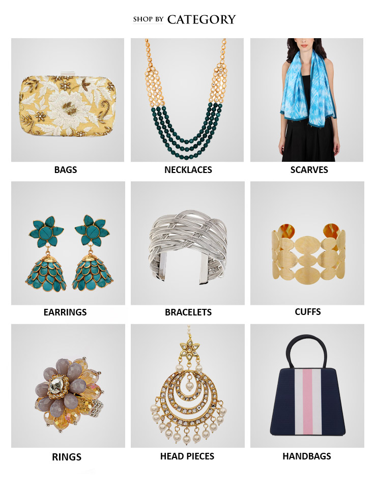 Shop the latest collections of Indian designer bags, embroidered clutch bags, evening bags, necklaces, rings, head bands, arm bands and also accessories like silk scarves from Indian Designers