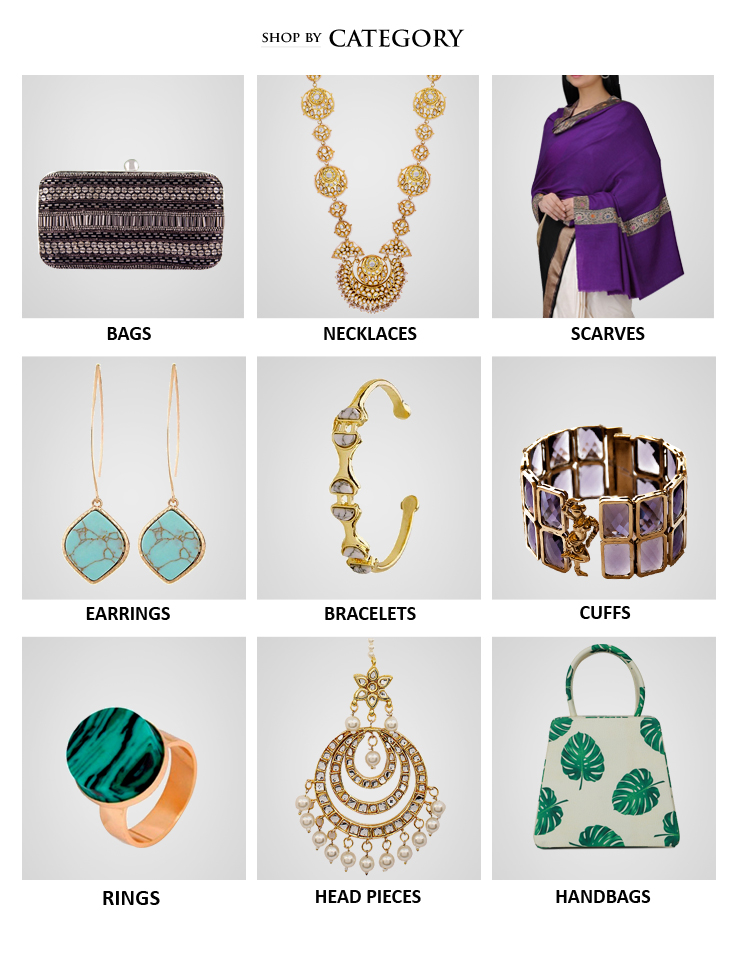 Buy Indian designer bags, embroidered clutch bags, evening bags, necklaces, rings, head bands, arm bands and also accessories like silk scarves from Indian Designers