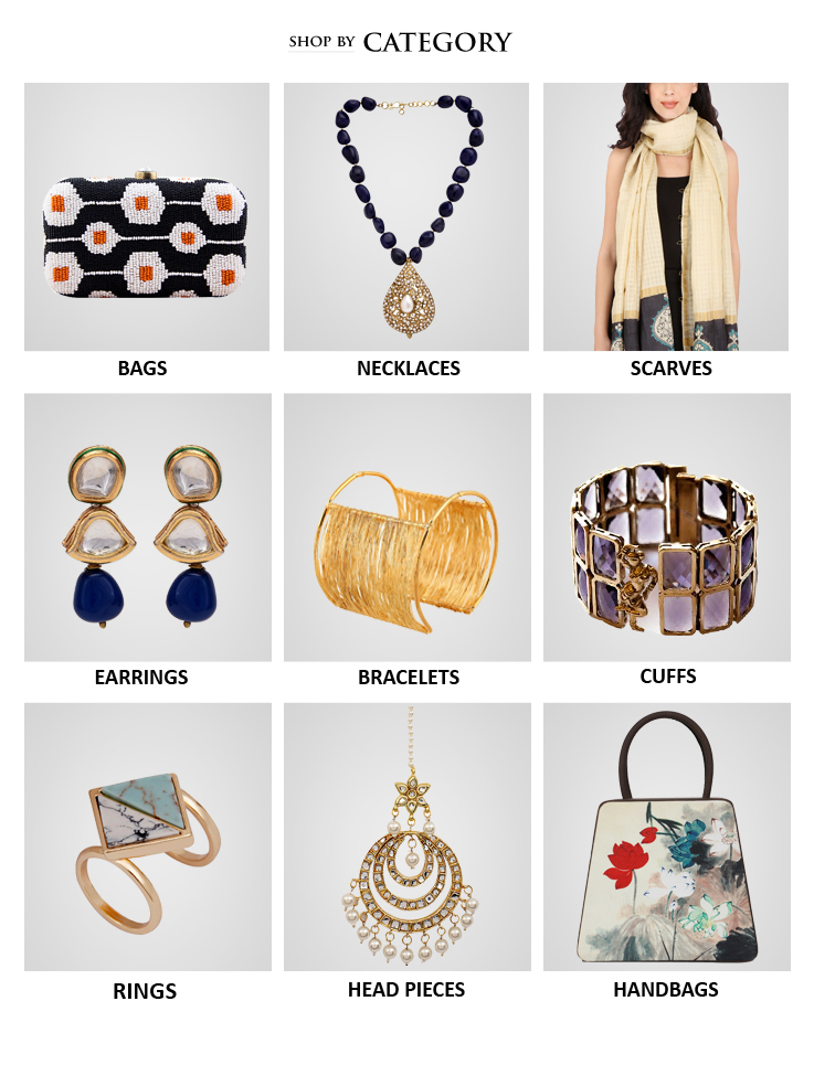 Shop Indian designer handbags, clutch bags, evening bags, Indian jewellery like necklaces, rings, head bands, arm bands and also accessories like silk scarves from Indian Designers