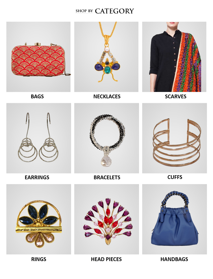 Shop beautiful Indian designer handbags, clutch bags, evening bags, Indian jewellery like necklaces, rings, head bands, arm bands and also accessories like silk scarves from Indian Designers