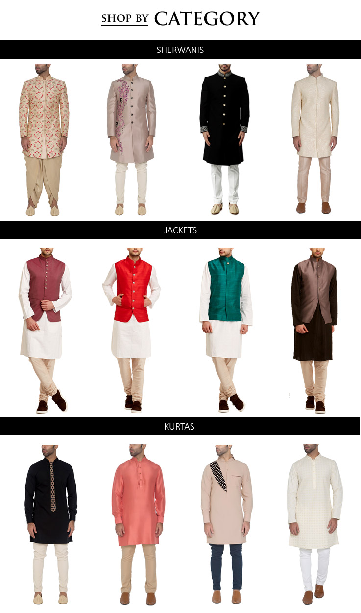 Shop the latest Indian designer menswear collections including Sherwanis, Kurtas, Jackets, Blazers, Trousers, including styles for Indian weddings