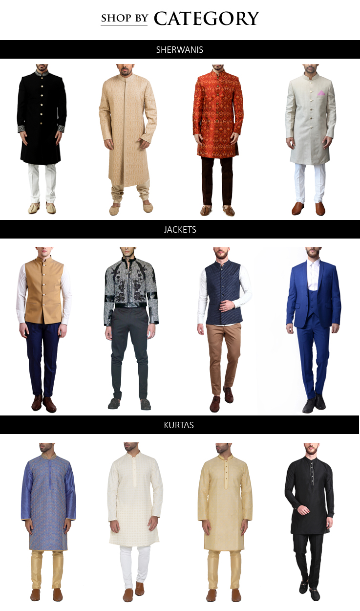 Buy Indian designer menswear collections including Sherwanis, Kurtas, Jackets, Blazers, Trousers, including styles for Indian weddings