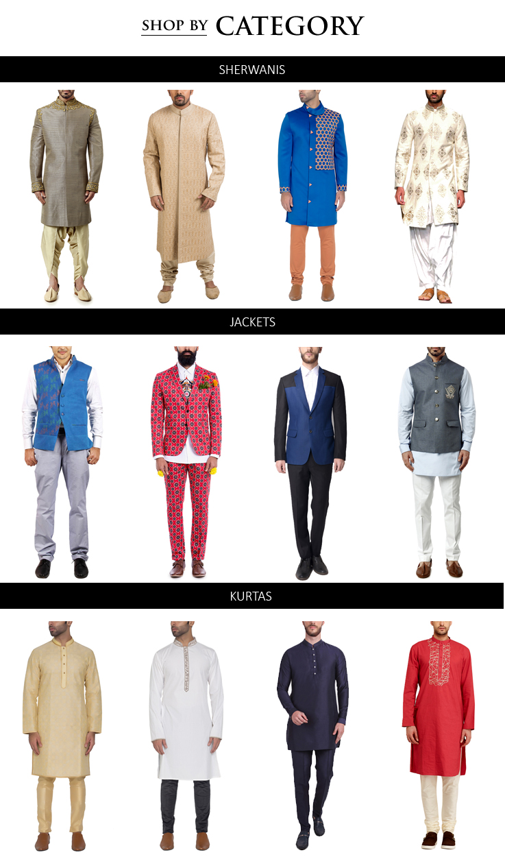 Shop Indian designer Menswear including stylish Sherwanis, Kurtas, Jackets, Blazers, Trousers from some of the best Indian designers in Traditional and Contemporary styles