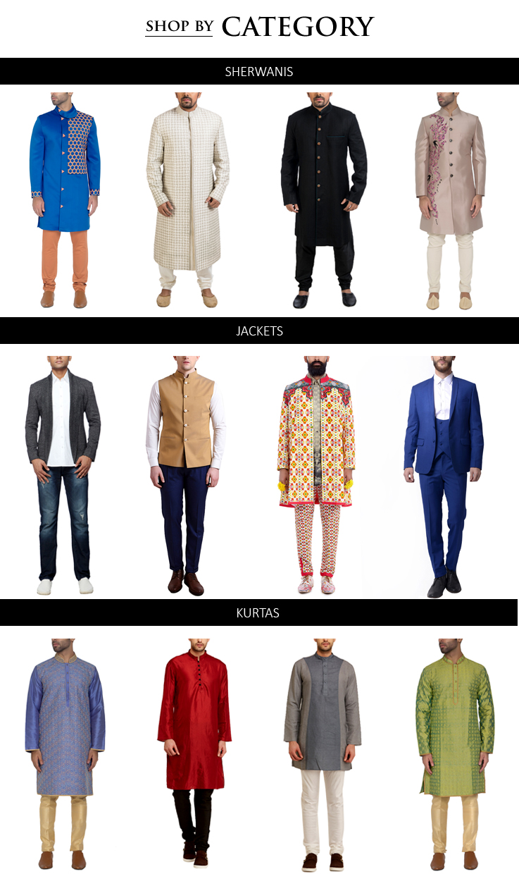 Indian Designer Menswear including stylish Sherwanis, Kurtas, Jackets, Blazers, Trousers from some of the best Indian designers in Traditional and Contemporary styles