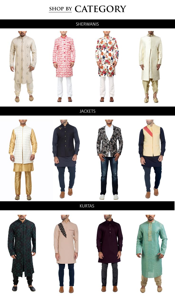 Indian Designer Menswear styles including stylish Sherwanis, Kurtas, Jackets and Trousers