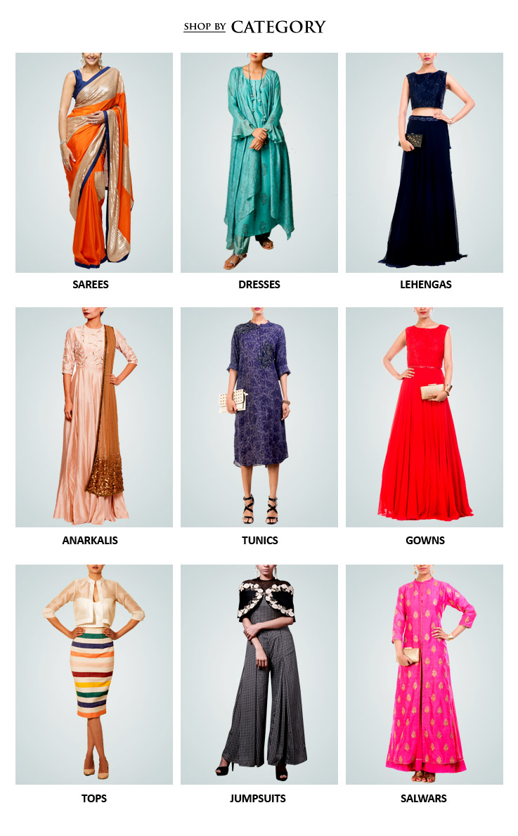 Buy the latest designer Indian womenswear including Indian inspired clothes like Lehengas, Dresses and Sarees, Evening gowns, Jumpsuits, Jackets, Tunics, Kaftans