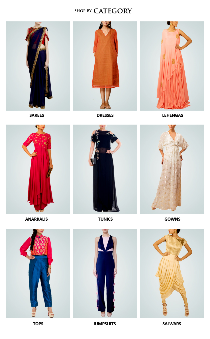 Shop Indian designer womenswear including Indian inspired clothes like Lehengas, Dresses and Sarees, Evening gowns, Jumpsuits, Jackets, Tunics, Kaftans - all from some of the best Indian fashion designers