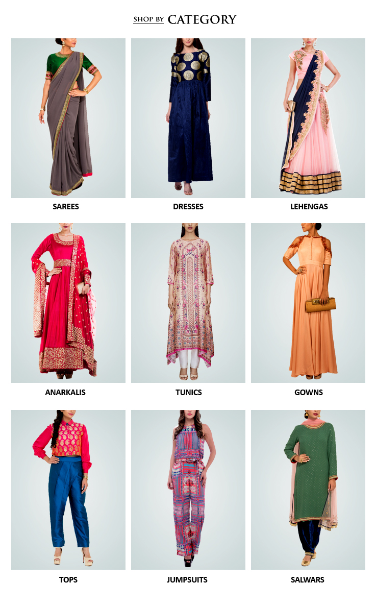 Indian designer womenswear including Indian inspired clothes like Lehengas, Dresses and Sarees, Evening gowns, Jumpsuits, Jackets, Shirts - all from some of the best Indian fashion designers