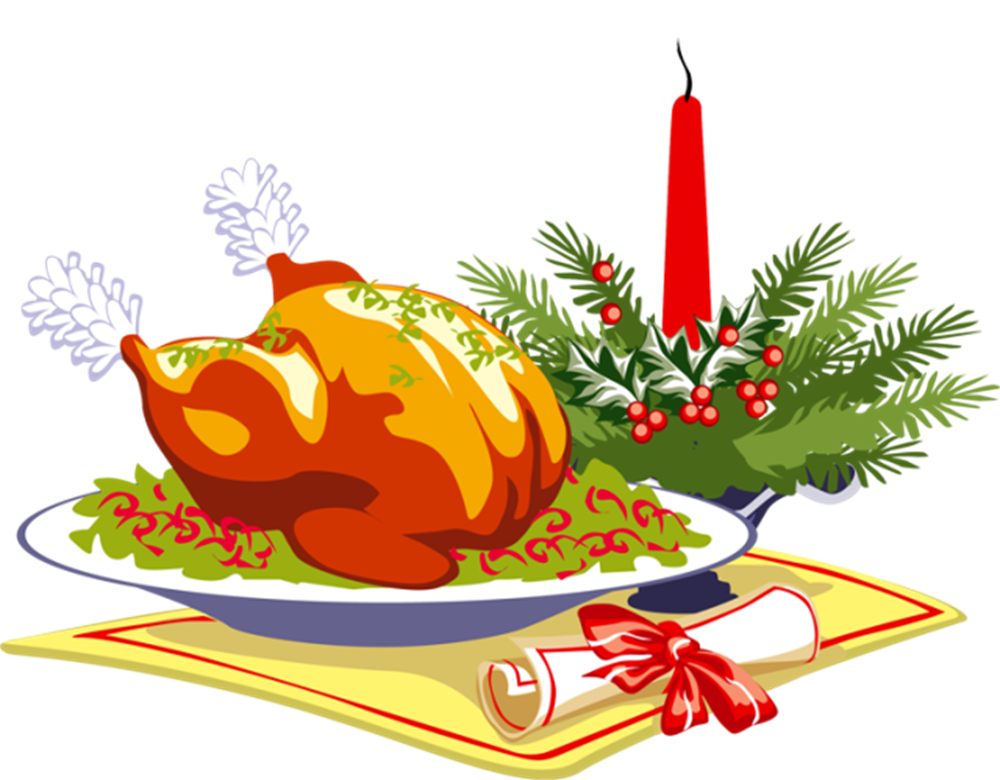 Christmas dinner party clip art