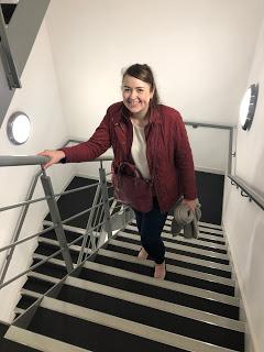 sarah climbing stairs