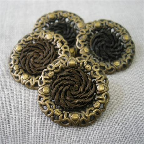 Decorative Metal and Braided Button Image 1
