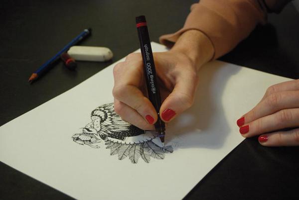 Artist Using Isograph Pen