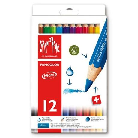 Caran D'ache Fancolor Box of 12 Water Soluble Maxi Colour Pencils Image 1
